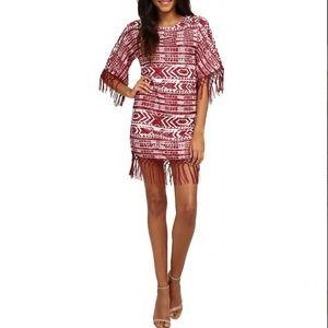 Sam Edelman Red Fringe Beaded Poncho Dress Small